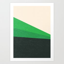 Stripe V Green Fields Art Print
