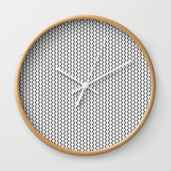 Black and White Basket Weave Shape Pattern 2 - Graphic Design Wall Clock
