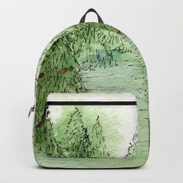Pine Trees Christmas Forest Landscape Watercolor Backpack