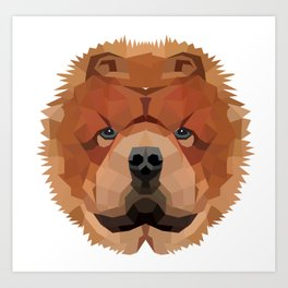 Chowchow Polygon Portrait Art Print