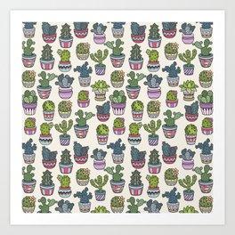 Trendy modern bohemian purple green floral cactus pattern Art Print