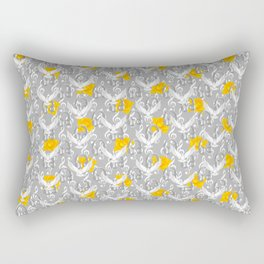 Peace song memories / Headphones, dove, clef and rose pattern Rectangular Pillow