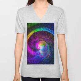 Spiral tie dye light painting Unisex V-Neck