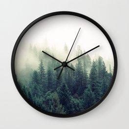 Foggy Winter Forest Wall Clock