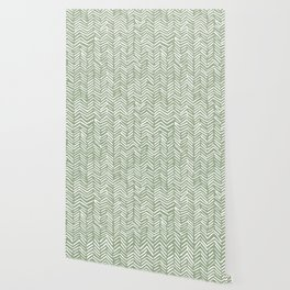Boho Herringbone Pattern, Sage Green and White Wallpaper