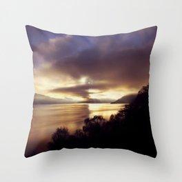 Loch Ness Sunset Throw Pillow