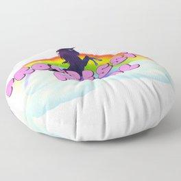 Progressive Metal Rainbow Unicorn in Space Floor Pillow