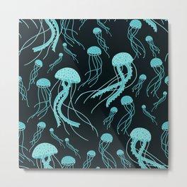 Bioluminescent Jellyfish Swarm Metal Print