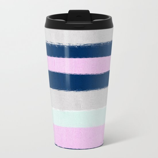 Stripes painterly pastel trendy color way throwback retro palette 80s 90s style Metal Travel Mug