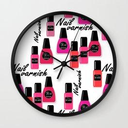 Nail Polish Seamless nail varnish polish pattern fashion background Wall Clock