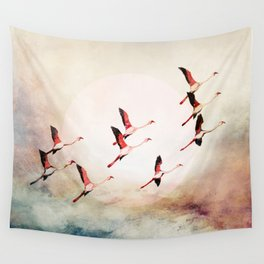 Flock of Flamingos Wall Tapestry