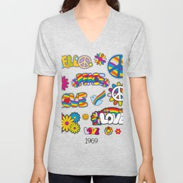 Cool Peace Tees For Boys And Girls Peace And Love 1969 Poster Unisex V-Neck