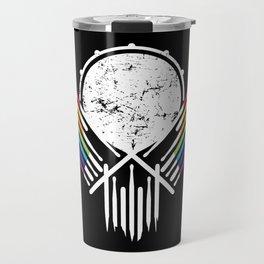 Artsy Drummer Skull Travel Mug