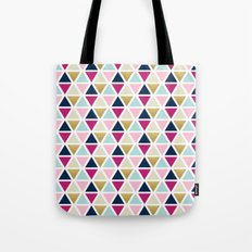Triangle Geometry, Gold, Navy blue and Pink Tote Bag