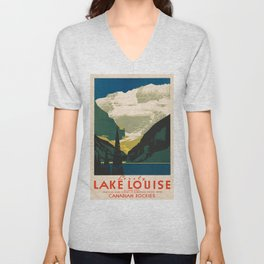 Lovely Lake Louise vintage travel ad Unisex V-Neck