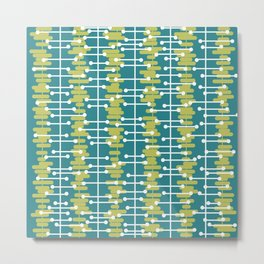 1950s Retro Abstract Lines Turquoise Chartreuse Metal Print
