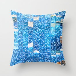 Air bubbles in blue water Throw Pillow