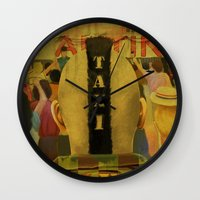 taxi driver Wall Clocks featuring Taxi Driver by David Amblard