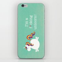 unicorn iPhone & iPod Skins featuring Unicorn - I'm a maturely speaking unicorn!!! by LucyDynamite