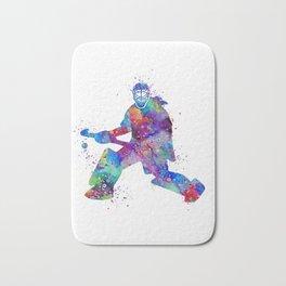 Girl Field Hockey Goalie Watercolor Print Sports Art Gifts Painting Home Decor Bath Mat