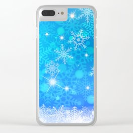 Blue Winter Snowflakes Pattern Christmas Decor Clear iPhone Case