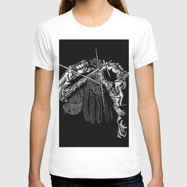 Geometric Black and White Drawing Kitting Hands T-shirt