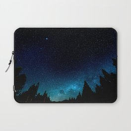 Black Trees Turquoise Milky Way Stars Laptop Sleeve