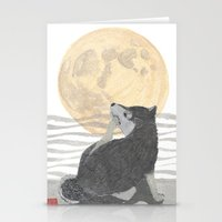shiba inu Stationery Cards featuring SHIBA INU, MOON, DOG by Bless Hue