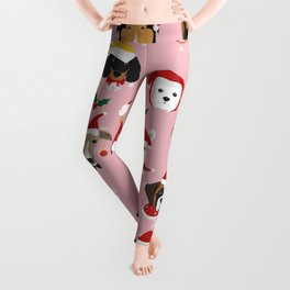 Christmas Dog Pattern Illustration Leggings