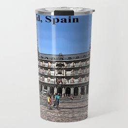 Comic Art of plaza in Madrid, Spain Travel Mug
