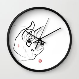 Pig Art, Chinese New Year of the Pig, Original Zen Sumi e ink Painting Wall Clock