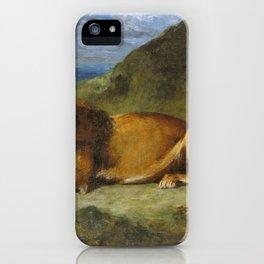 Lion Devouring a Goat - Eugene Delacroix iPhone Case