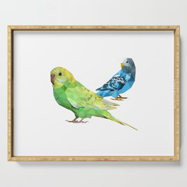 Geometric green and blue parakeets Serving Tray