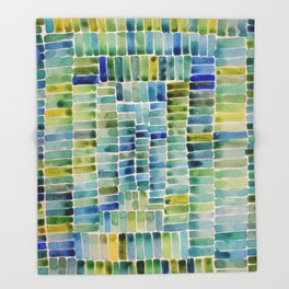 Watercolor abstract rectangles - yellow and blue Throw Blanket