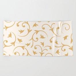 Baroque Design – Gold on Cream Beach Towel