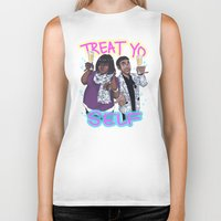 treat yo self Biker Tanks featuring Treat Yo Self by enerjax