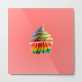 Cupcake Love - Rainbow Swirl on Coral Metal Print