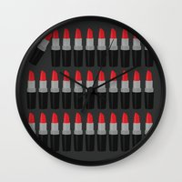 lipstick Wall Clocks featuring Lipstick by Headline Honey
