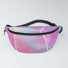 Geometrical abstract pink teal lilac watercolor stripes triangles Fanny Pack