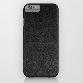 Black Leather Realistic Print iPhone Case