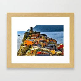 Cinque Terre Vernazza Village Mediterranean Coast, Italy 2 Framed Art Print