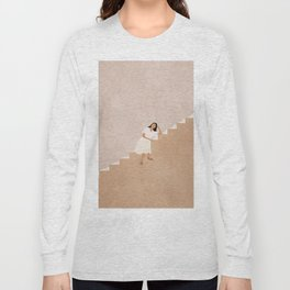Girl Thinking on a Stairway Long Sleeve T-shirt