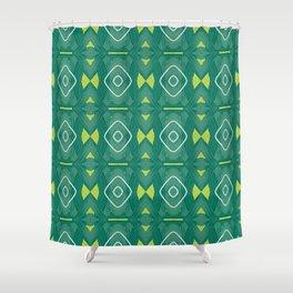 Maska green stripes woven pattern Shower Curtain
