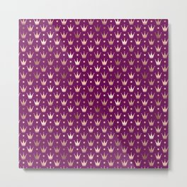 Purple & Rose Gold Crown Pattern Metal Print