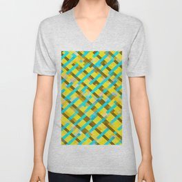 geometric pixel square pattern abstract background in yellow blue brown Unisex V-Neck