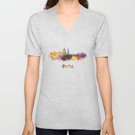 Metz skyline in watercolor Unisex V-Neck
