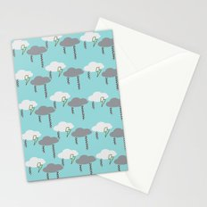 Happy Rain and Lightning - Comic Book Pencil Drawing - Blue, White, Grey, Yellow Stationery Cards