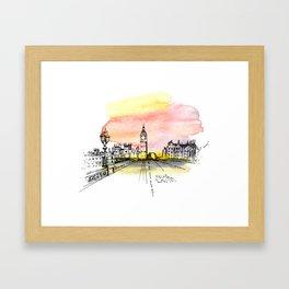 London, Big Ben. Watercolor and ink. Framed Art Print
