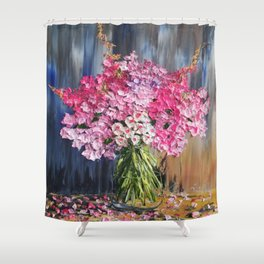 Pink Flowers Painting, Knife Oil Painting, Modern Floral Art, blue and white, Pink flowers on blue, Shower Curtain