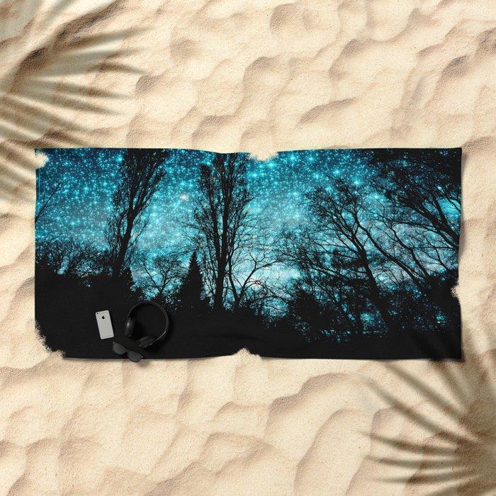 black trees turquoise teal space Beach Towel